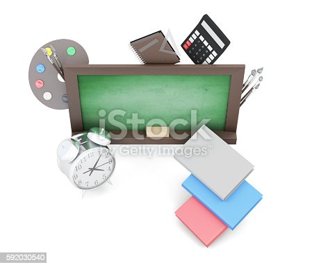 istock Green boards and school supplies isolated on a white background. 592030540