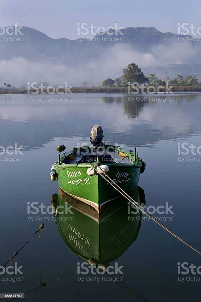 Green boat royalty-free stock photo