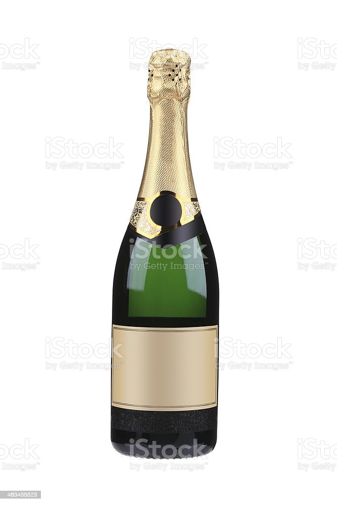 Green bottle of champagne with golden top. stock photo