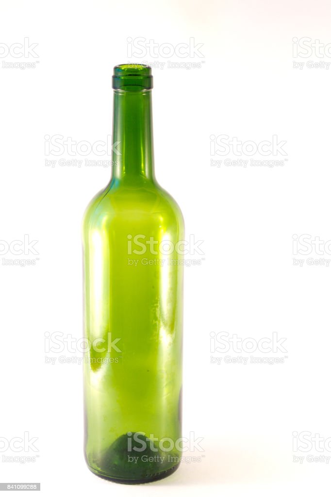 Green bottle of wine under a white background stock photo