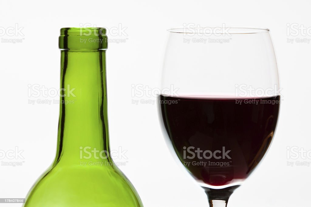 Green bottle wine and glass isolated royalty-free stock photo