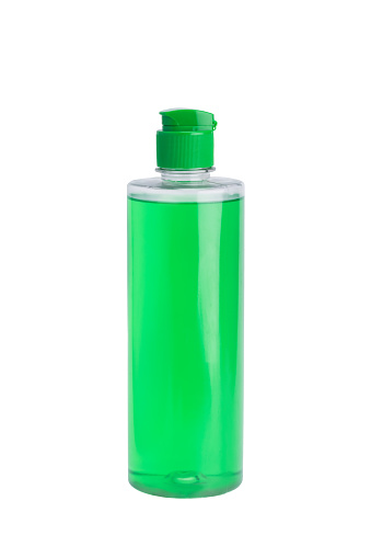 istock green bottle with means for cleaning and disinfection, isolated on white 1076150176