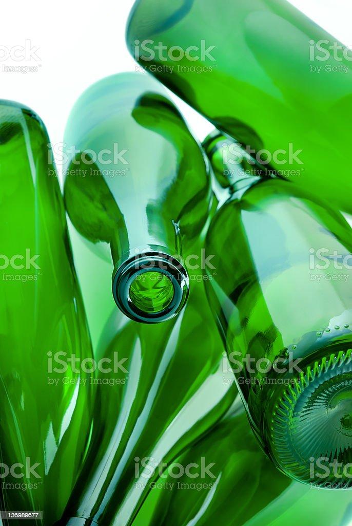 green bottles of glass stock photo