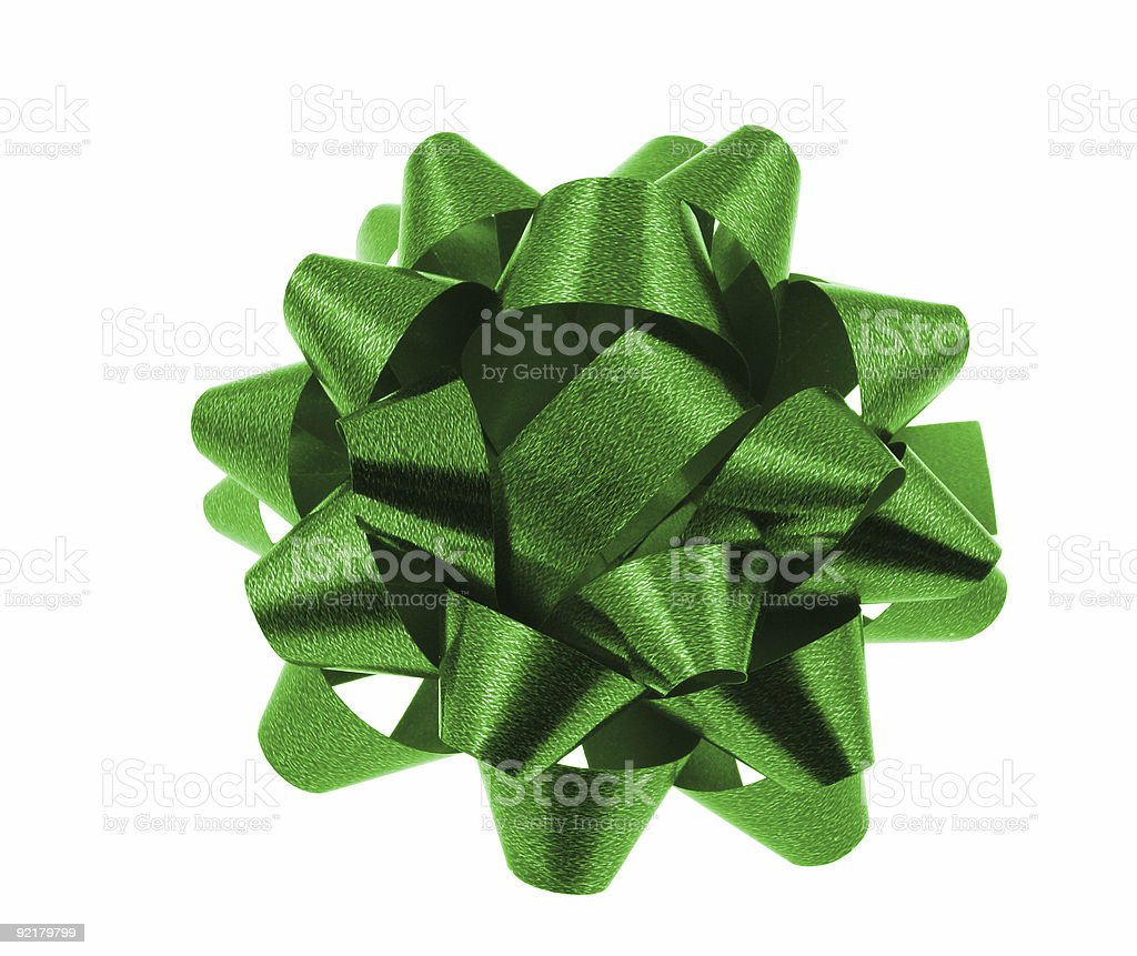 green bow on pure white background royalty-free stock photo