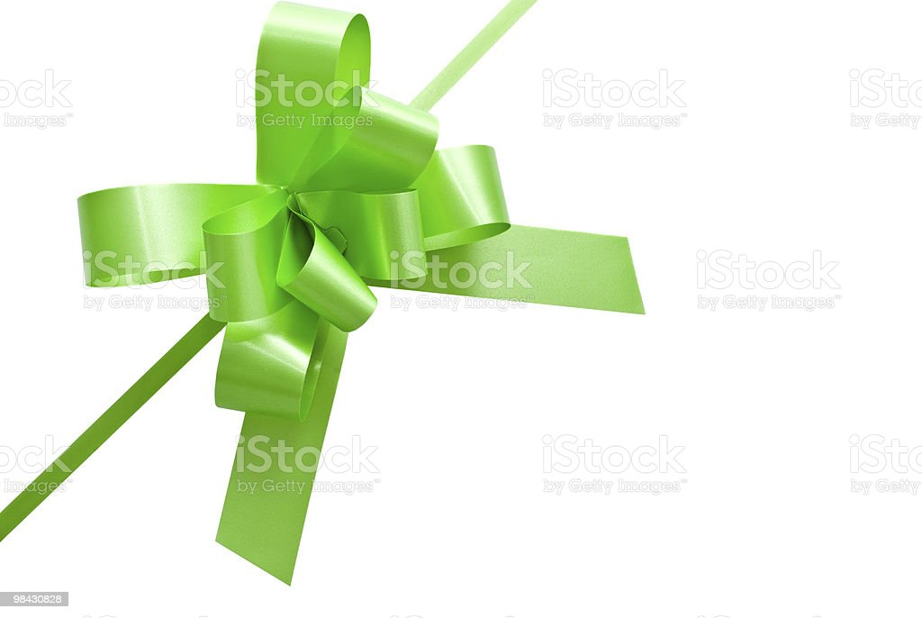 green bow on white background royalty-free stock photo