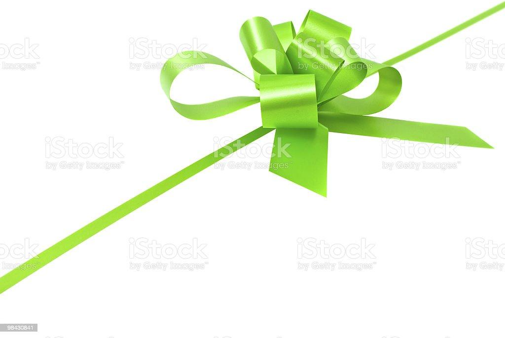 흰색 배경의 황록색 나비매듭 royalty-free 스톡 사진