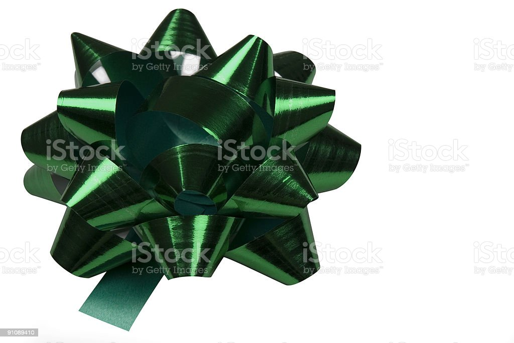 Green Bow with Clipping Path royalty-free stock photo