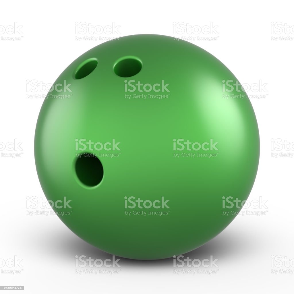 Green bowling ball stock photo
