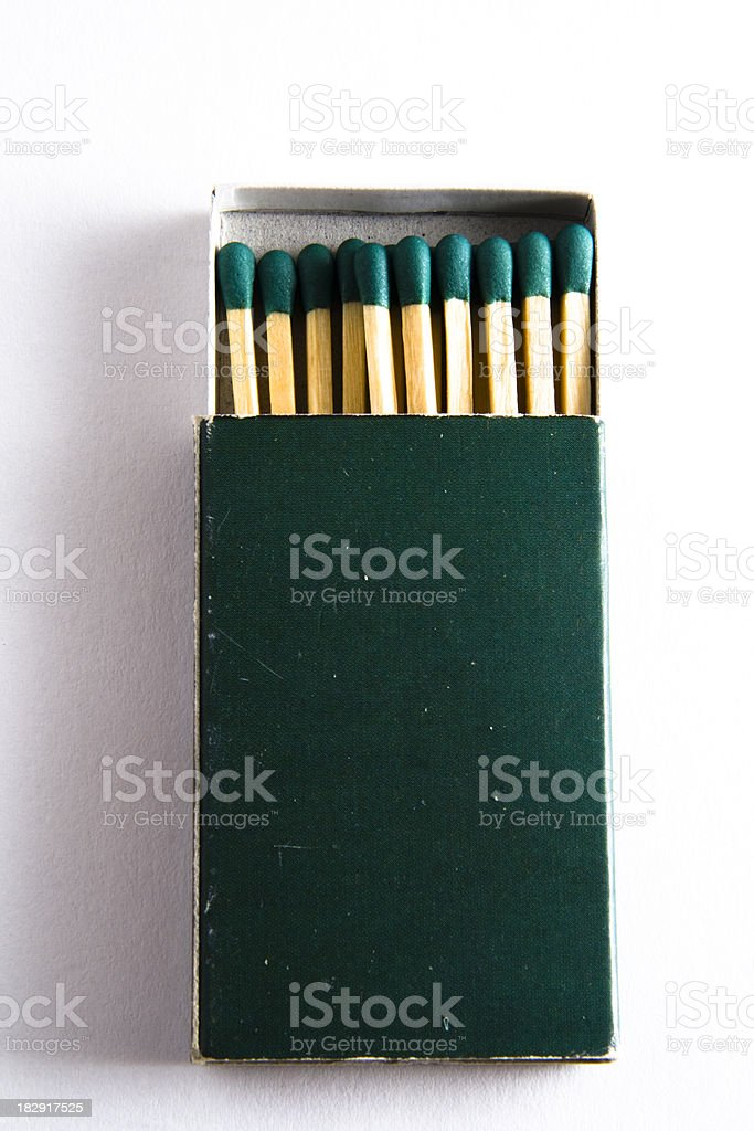 Green box of matches stock photo