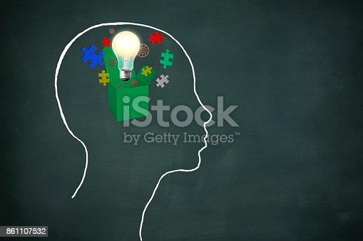 istock Green box with a light bulb inside human head of drawn on a blackboard 861107532