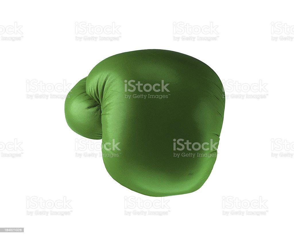 Green boxing glove stock photo