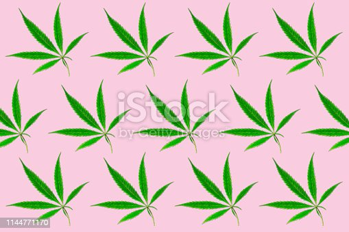 istock Green branch cannabis with five fingers leaves, marijuana on light pink background, legalization medical hemp. Seamless pattern. 1144771170