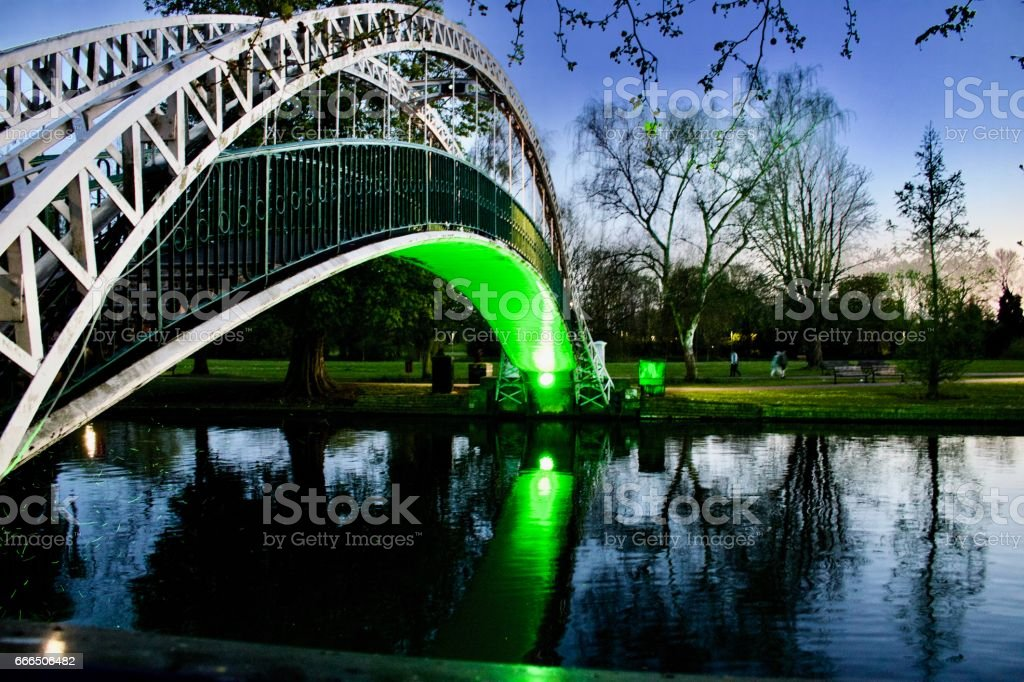 Green bridge in Bedford stock photo