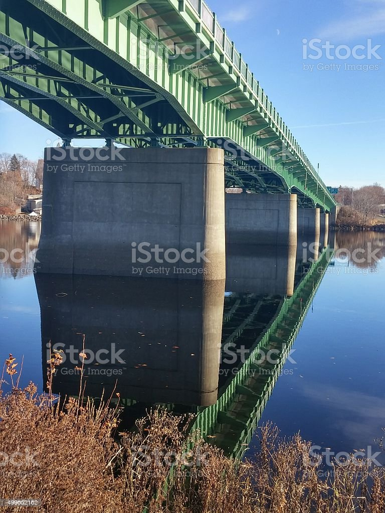 Green Bridge, Reflection, Crossing Penobscot River, Downtown Bangor, Maine stock photo