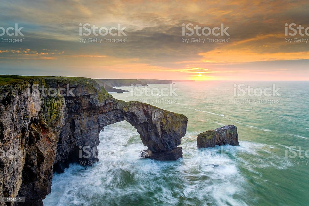 Green Bridge Sunrise stock photo
