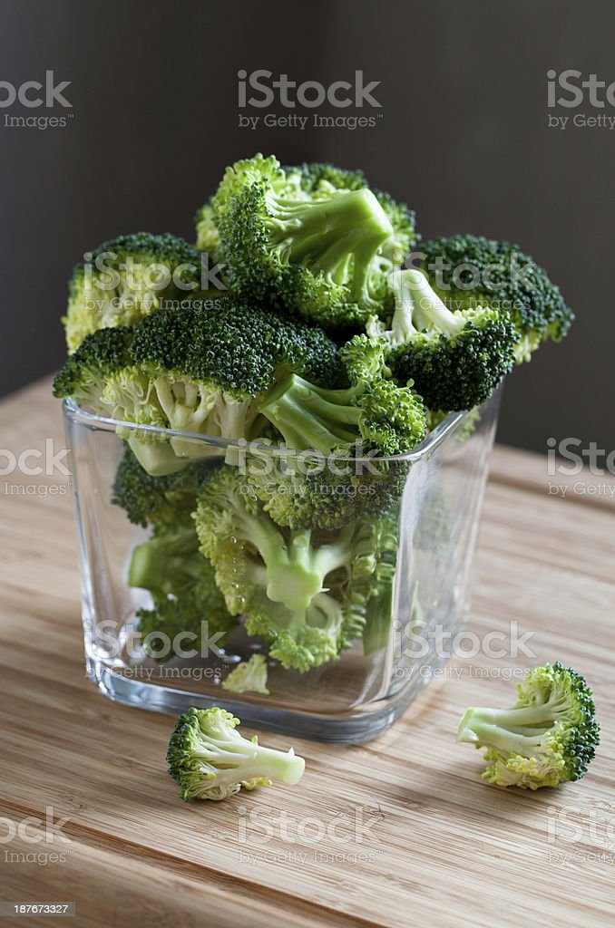 green broccoli in glass bowl royalty-free stock photo