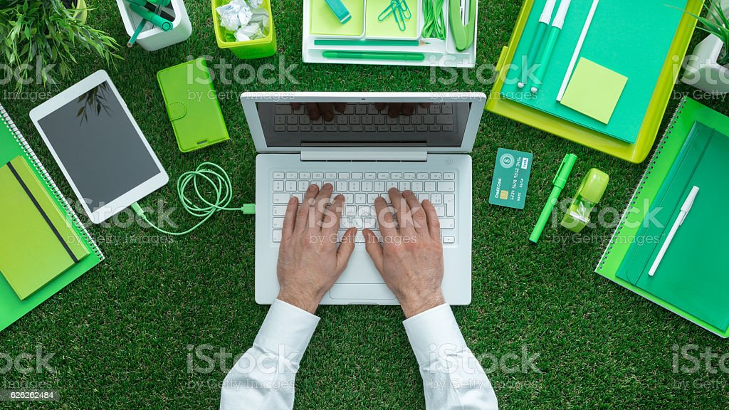 Green business concept stock photo