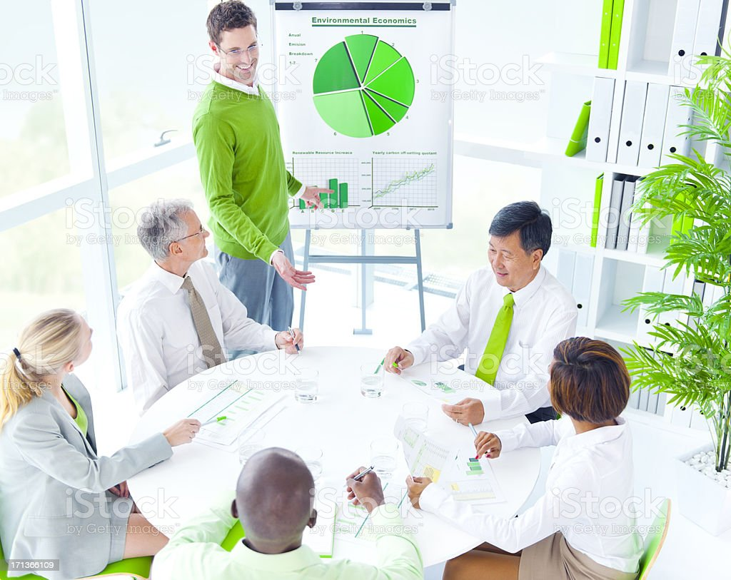Green Business Meeting royalty-free stock photo