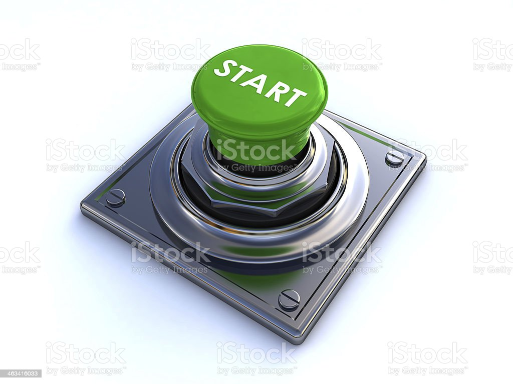 Green button labeled start in the middle stock photo