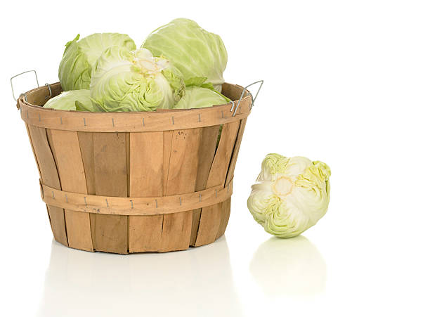 Green Cabbage in a Large Basket stock photo