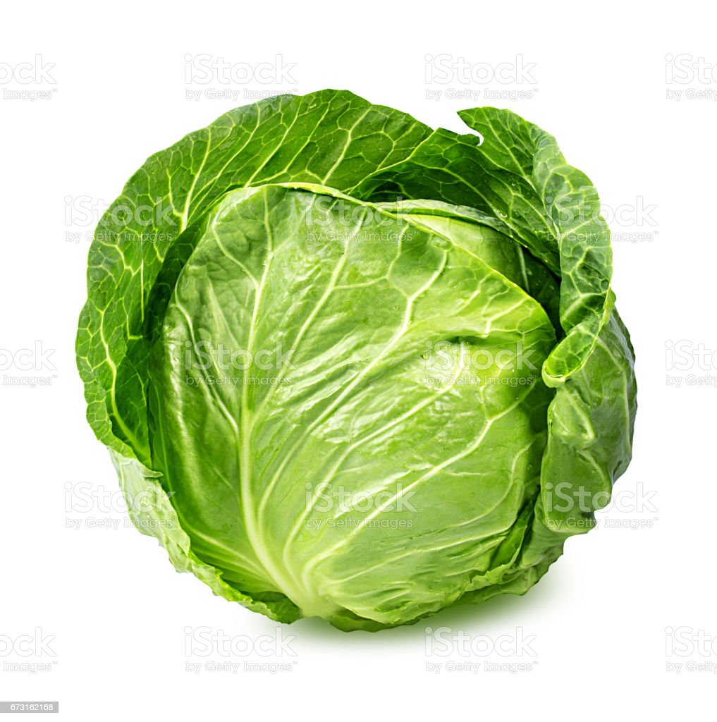 Green cabbage isolated on white - foto de stock
