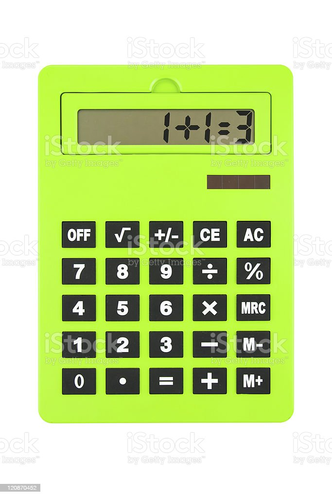Green Calculator showing Wrong paradox Calculation, on White royalty-free stock photo