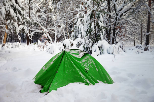 Green camping tent in snow at snowy winter forest - foto stock