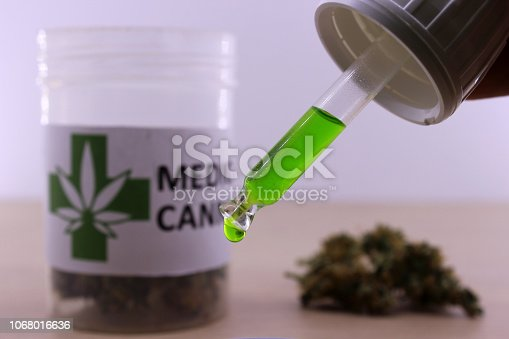 istock Green cannabis oil to soothe muscle aches 1068016636