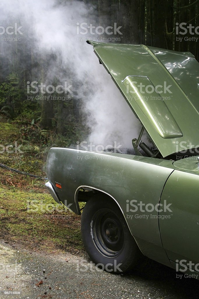 Green car broken down in middle of forest royalty-free stock photo