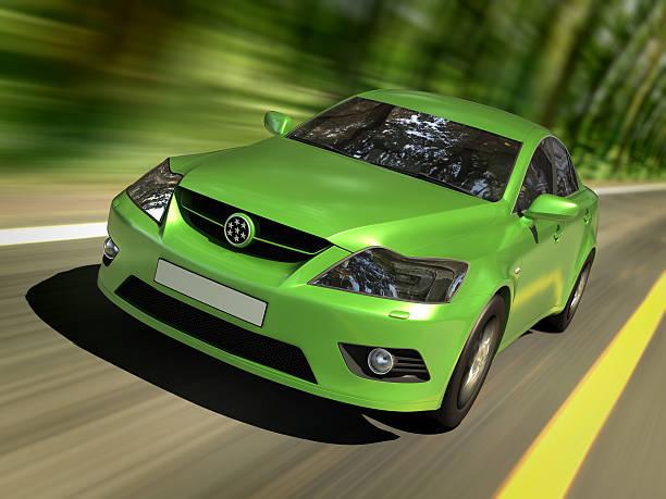 auto in verde foresta - auto a combustibile alternativo foto e immagini stock