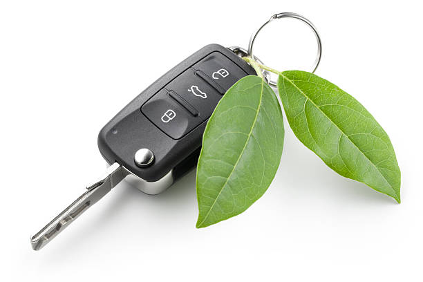 Green car key Car key with leaf. alternative fuel vehicle stock pictures, royalty-free photos & images