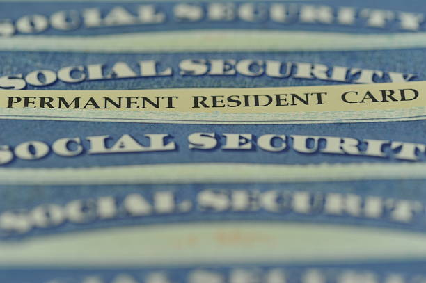 Green Card - American Permanent Resident Card American Green Card (US Permanent Resident) hidden in a stack of Social Security cards. Selective Focus green card stock pictures, royalty-free photos & images
