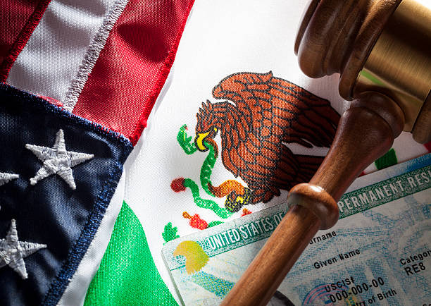 Green Card - USA & Mexico Mexican flag and USA flag and gavel and green card. Immigration concept. green card stock pictures, royalty-free photos & images