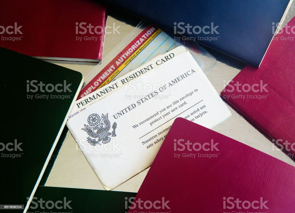 USA Green Card with passports stock photo