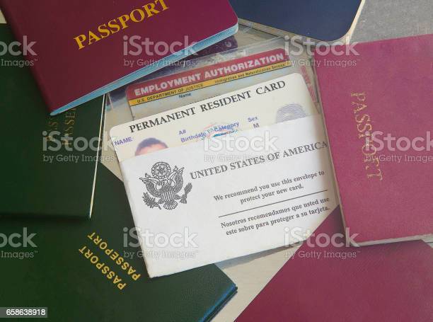 Green Card With Passports Stock Photo - Download Image Now
