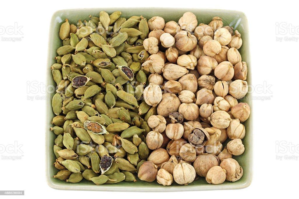 Green Cardamon and Siamese Cardamom (Camphor Seed) stock photo