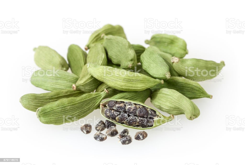 Green cardamon pods isolated on white background stock photo