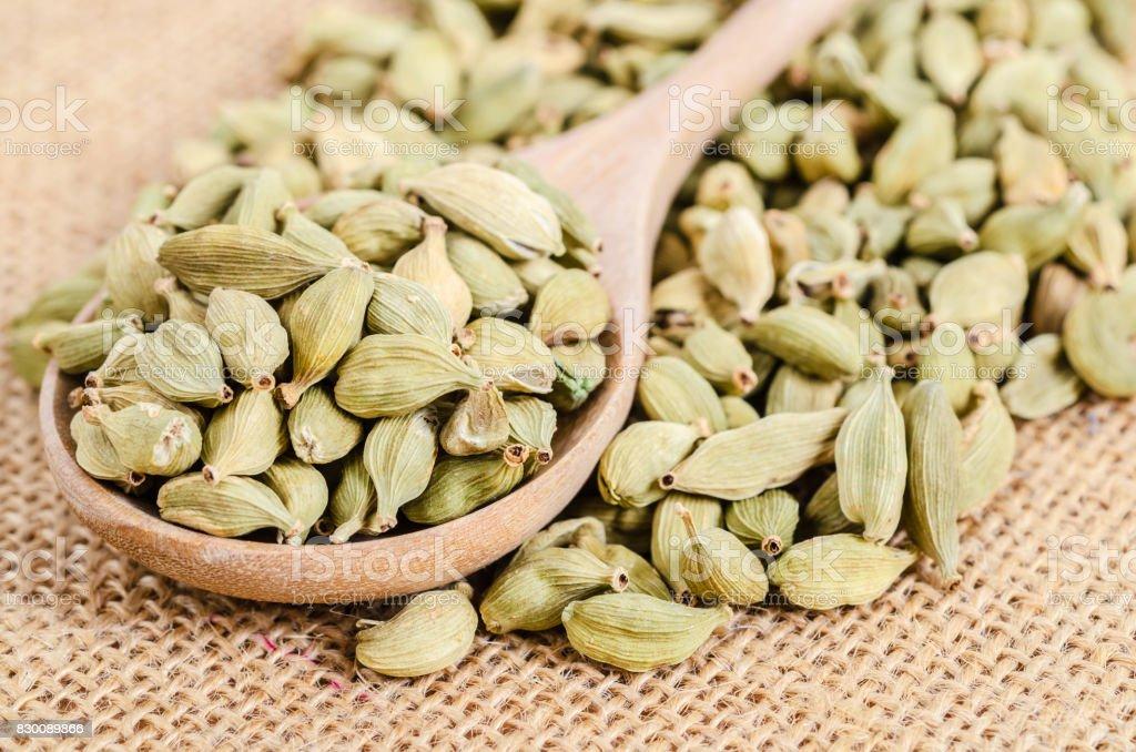 Green cardamon seeds. stock photo