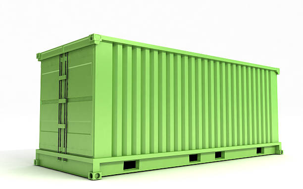 Green cargo container on a white background stock photo