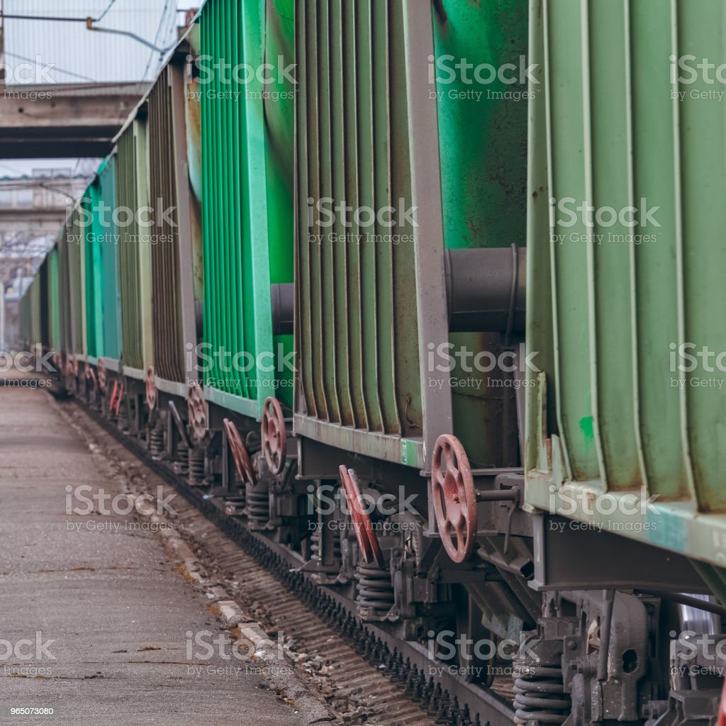 Green cargo wagons close up zbiór zdjęć royalty-free