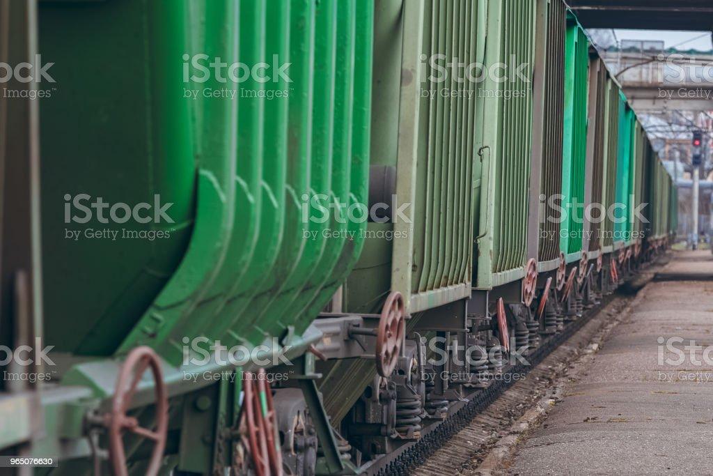 Green cargo wagons close up zbiór zdjęć royalty-free