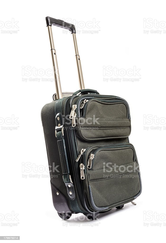 Green Carry on Luggage Isolated stock photo