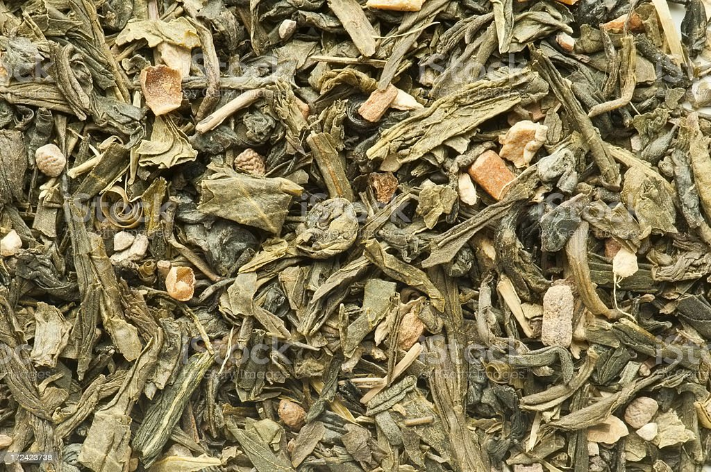 Green Chai tea leaves background from overhead royalty-free stock photo