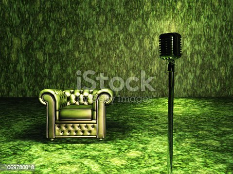 Green Chair and Microphone