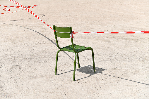 Green Chair in a park, Paris, France.