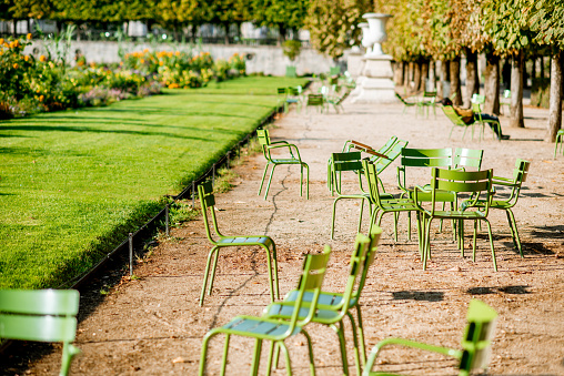 Green chairs at Tuileries gardens in Paris