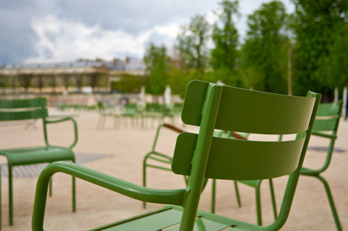 Green chairs in the Tuileries Garden