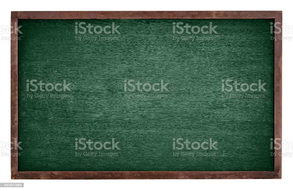 Green chalk Board isolate on white background stock photo