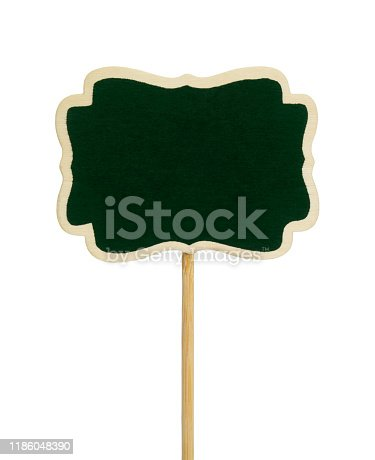 997496254 istock photo Green chalkboard label, garden mark or price tag isolated 1186048390