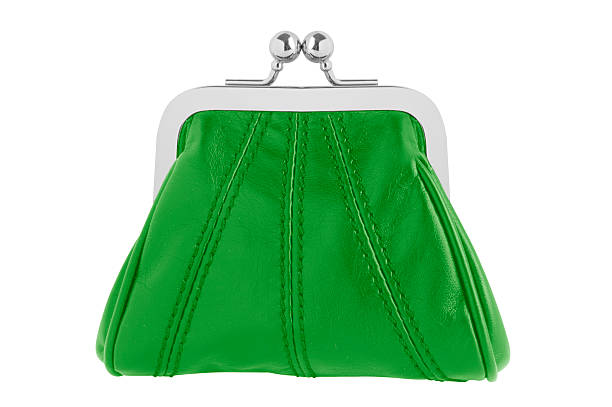 Green changing purse stock photo